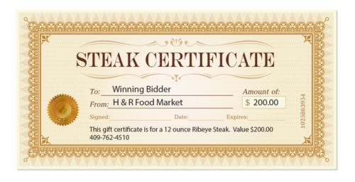 Steak Certificate