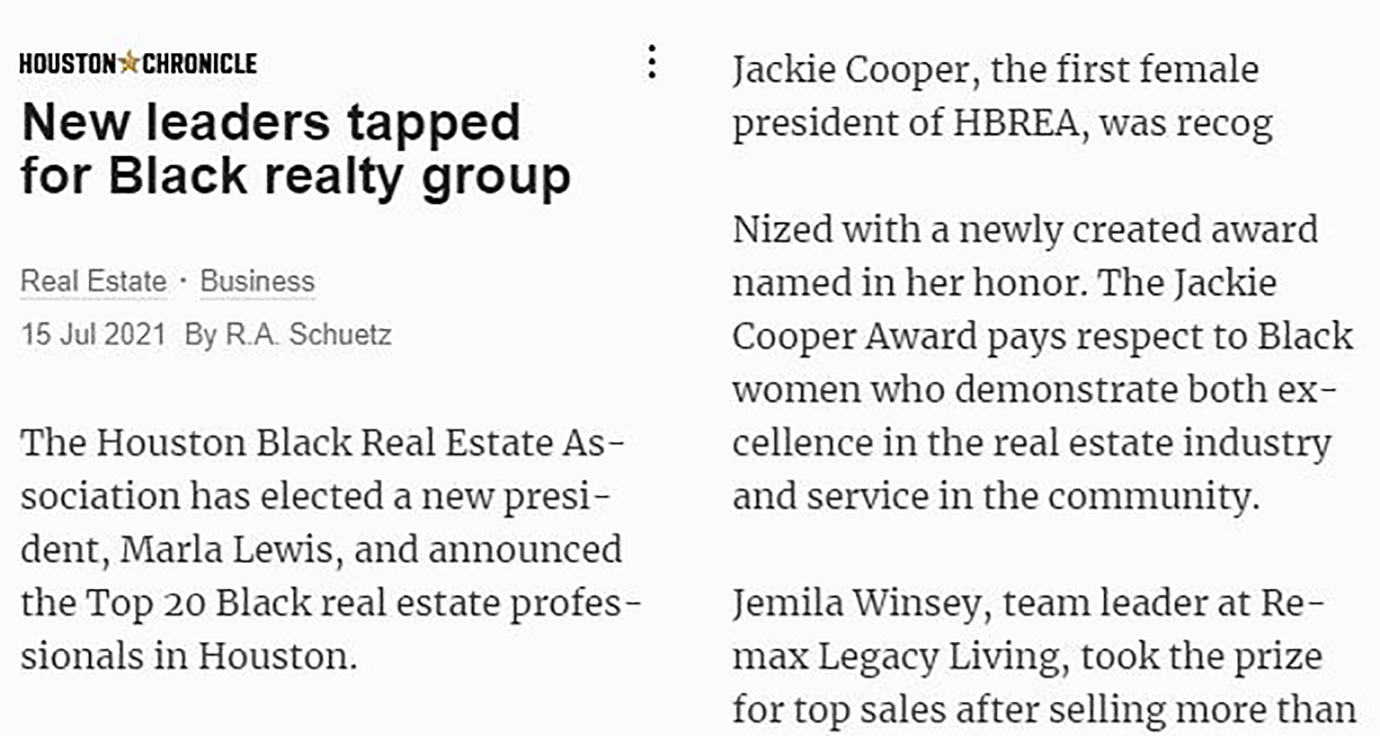 New Leaders Tapped for Black Realty Group - HBREA 2021